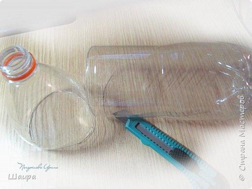 Кукла 20 см. Тело из части пластиковой бутылки, обтянуто тканью. Голова из капрона, волосы - шерсть для валяния, глаза - полубусины, руки на проволоке. фото 2