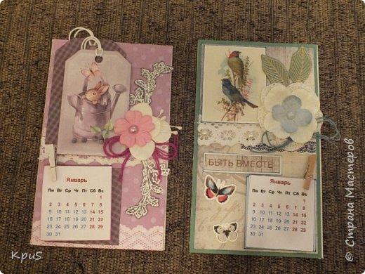 Всем жителям СМ - здравствуйте. Сделала еще несколько магнитов- календарей. Новый год не за горами и небольшие подарки никогда не бывают лишними. Вот и запасаюсь. Помимо скрап бумаги, использовала бумажные цветы, кружево, бусины, деревянные прищепки и эмбоссинг. фото 1