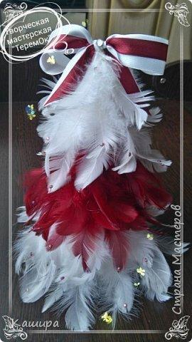 Приветствую всех гостей! Начинаем готовиться к Новому году!Вот такие интерьерные елочки были сделаны из перьев. Украшены атласными лентами и стразами. фото 2