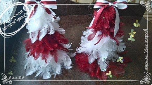 Приветствую всех гостей! Начинаем готовиться к Новому году!Вот такие интерьерные елочки были сделаны из перьев. Украшены атласными лентами и стразами. фото 1