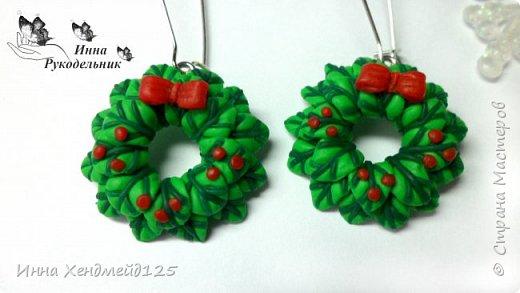 Готовлюсь к праздникам. Создала праздничные сережки из полимерной глины. фото 3