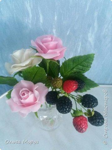 Вот такой маленький и нежный букетик получился из розовых кустовых розочек,и веточки ежевики.  фото 2