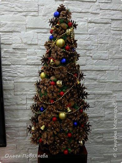 Винтажная ёлка из шишек.Высота 65 см фото 2