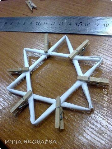 Хочу напомнить стародавний способ изготовления звездочек путем обматывания.  Нам понадобится: -веревка (можно джутовая) -бумажные трубочки -клей -бусинки для украшения фото 3