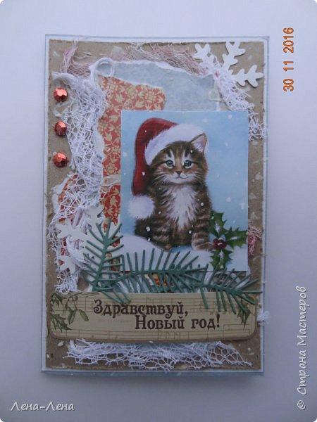 Ещё три новогодних открыточки сотворилось, на этот раз с такими милыми котиками. Что-то открытки ву меня прям сериями идут.)) Новогодний сериал!!!)) фото 2