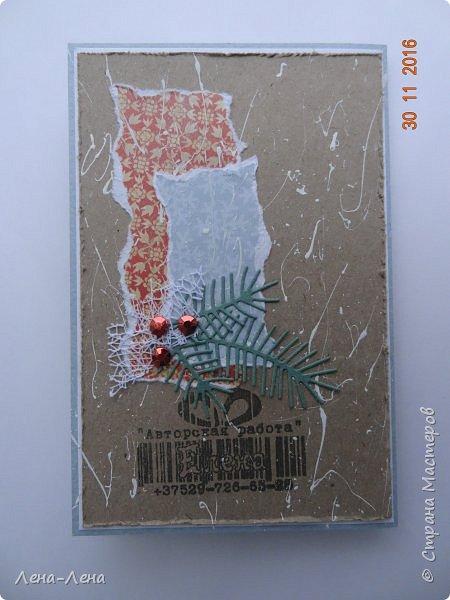 Ещё три новогодних открыточки сотворилось, на этот раз с такими милыми котиками. Что-то открытки ву меня прям сериями идут.)) Новогодний сериал!!!)) фото 3