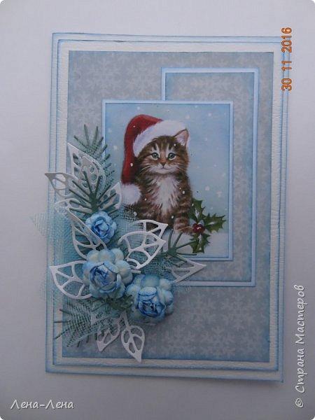 Ещё три новогодних открыточки сотворилось, на этот раз с такими милыми котиками. Что-то открытки ву меня прям сериями идут.)) Новогодний сериал!!!)) фото 5