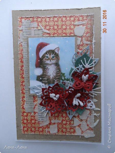 Ещё три новогодних открыточки сотворилось, на этот раз с такими милыми котиками. Что-то открытки ву меня прям сериями идут.)) Новогодний сериал!!!)) фото 8