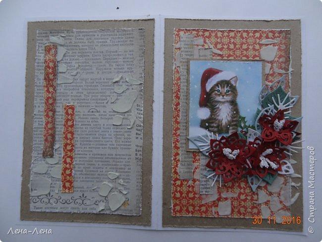 Ещё три новогодних открыточки сотворилось, на этот раз с такими милыми котиками. Что-то открытки ву меня прям сериями идут.)) Новогодний сериал!!!)) фото 11