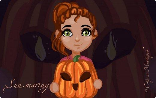 """Здравствуйте друзья! Я очень поздно доделала вот такой вот рисуночек по празднику """"Хеллоуин""""! Ну, не буду очень долго говорить... Лучше вы оцените! И кстати, я скоро собираюсь устраивать конкурс, так что вы будьте на чеку и на всякий случай следите за моим профилем!"""