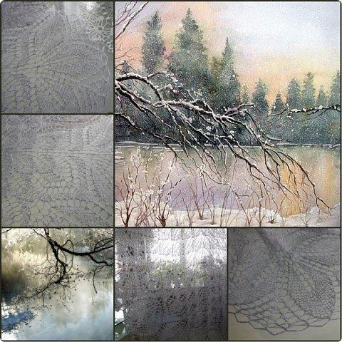 """Всем известная, много раз вязанная и любимая шаль """" Харуни"""" . В моем прочтении - """" Ноябрь""""  Для соблюдения авторских прав  сообщаю ,что в коллаже использованы работы Венеты Дочевой ( большая картинка) и фотография литовского фотографа Rimantas Bikulcius, зимний фрагмент. фото 1"""