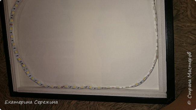 Итак, обещанный мастер-класс! Нам понадобится: - рамка - бумага А4, плотностью 160 г/м3, не тоньше (для 5 слоёв - 6 листов) - калька - плотная! - светодиодная лента - адаптер питания - переходник (от ленты к адаптеру питания) - пенокартон 3мм - нож - клей ПВА фото 11