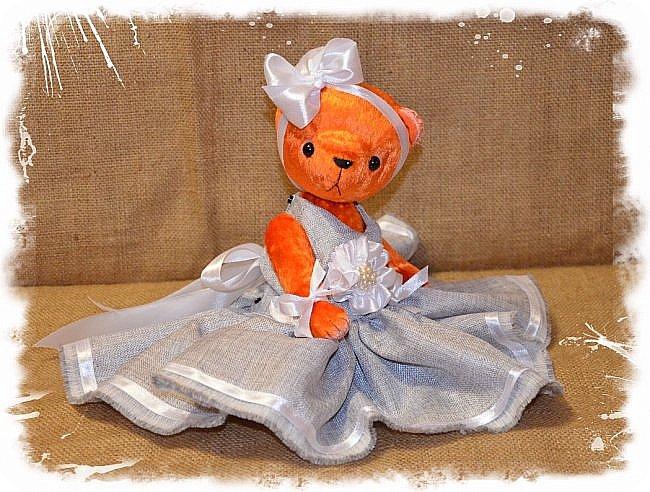 Всем Привет!!! Я снова к Вам с Мишкой! На Этот Раз Вот такая Девочка-Апельсиновое Счастье!!!! Малышка Сшита из Советского Плюша, пять шплинтов, платье сшито из искусственного льна-снимается, рост 28 см. Слегка утяжелена металлическим гранулятом. фото 5