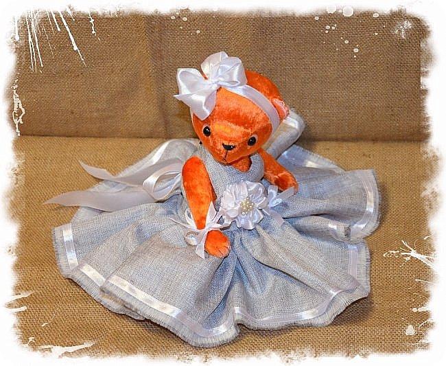 Всем Привет!!! Я снова к Вам с Мишкой! На Этот Раз Вот такая Девочка-Апельсиновое Счастье!!!! Малышка Сшита из Советского Плюша, пять шплинтов, платье сшито из искусственного льна-снимается, рост 28 см. Слегка утяжелена металлическим гранулятом. фото 6