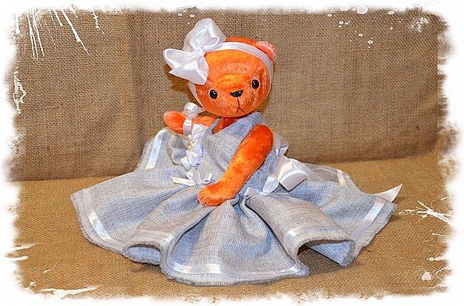 Всем Привет!!! Я снова к Вам с Мишкой! На Этот Раз Вот такая Девочка-Апельсиновое Счастье!!!! Малышка Сшита из Советского Плюша, пять шплинтов, платье сшито из искусственного льна-снимается, рост 28 см. Слегка утяжелена металлическим гранулятом. фото 7