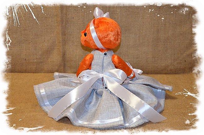 Всем Привет!!! Я снова к Вам с Мишкой! На Этот Раз Вот такая Девочка-Апельсиновое Счастье!!!! Малышка Сшита из Советского Плюша, пять шплинтов, платье сшито из искусственного льна-снимается, рост 28 см. Слегка утяжелена металлическим гранулятом. фото 8