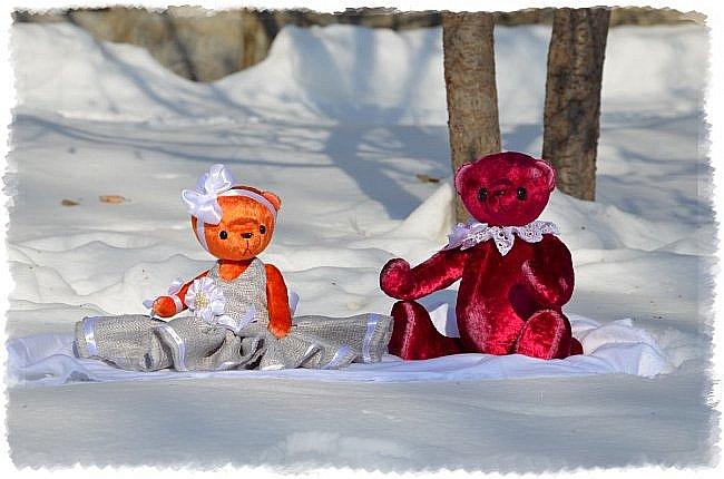 Всем Привет!!! Я снова к Вам с Мишкой! На Этот Раз Вот такая Девочка-Апельсиновое Счастье!!!! Малышка Сшита из Советского Плюша, пять шплинтов, платье сшито из искусственного льна-снимается, рост 28 см. Слегка утяжелена металлическим гранулятом. фото 10