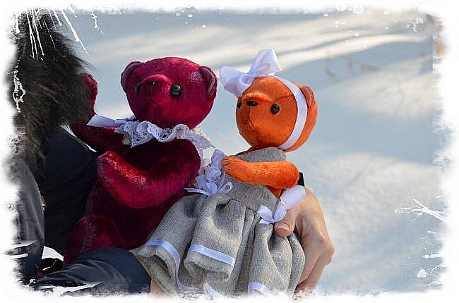 Всем Привет!!! Я снова к Вам с Мишкой! На Этот Раз Вот такая Девочка-Апельсиновое Счастье!!!! Малышка Сшита из Советского Плюша, пять шплинтов, платье сшито из искусственного льна-снимается, рост 28 см. Слегка утяжелена металлическим гранулятом. фото 12