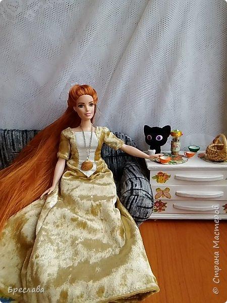 Перепрошила Барби толстушку (так она выглядела http://stranamasterov.ru/node/1047475#comment-14348624). Обозвала Алисой и сшила платье. Алиса со своим котёнком Алмазом фото 3