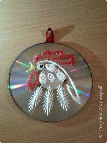 Петушок на диске к Новому году фото 1