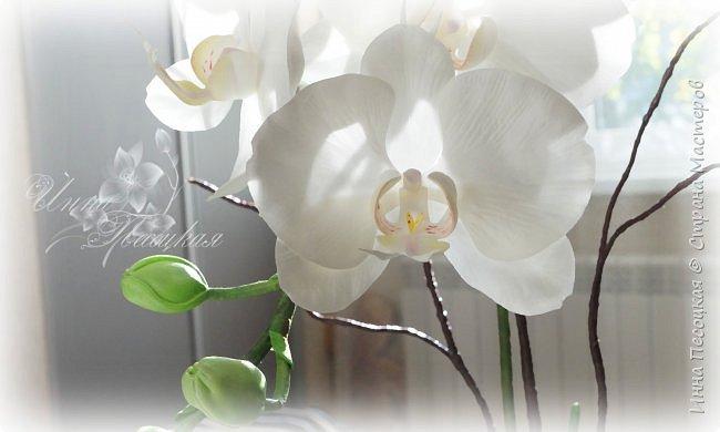 Сделала для себя любимой...))) Цветы орхидеи из турецкого фоамирана, листья - из иранского, а бутоны из зефирного. Декоративные веточки так же рукотворные. фото 5