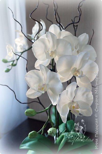 Сделала для себя любимой...))) Цветы орхидеи из турецкого фоамирана, листья - из иранского, а бутоны из зефирного. Декоративные веточки так же рукотворные. фото 3