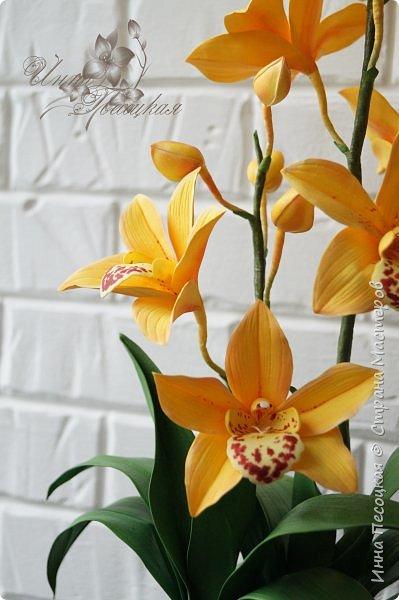 Сделала для себя любимой...))) Цветы орхидеи из турецкого фоамирана, листья - из иранского, а бутоны из зефирного. Декоративные веточки так же рукотворные. фото 7