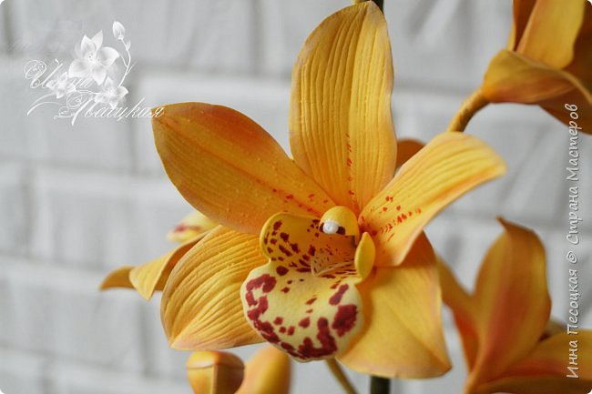 Сделала для себя любимой...))) Цветы орхидеи из турецкого фоамирана, листья - из иранского, а бутоны из зефирного. Декоративные веточки так же рукотворные. фото 8