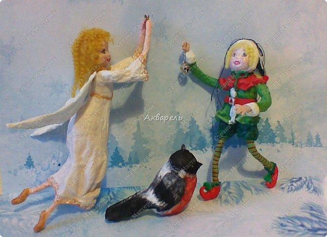 Очень меня впечатлили игрушки из ваты которые делает Олечка Симакова. А это мои пробы, эльфа-девочку я беленькую показывала, теперь она раскрашенная. фото 1