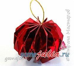 Красивый новогодний шар из бумаги
