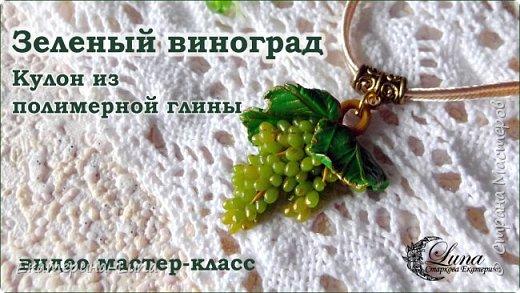 Кулон с виноградом из полимерной глины фото 1