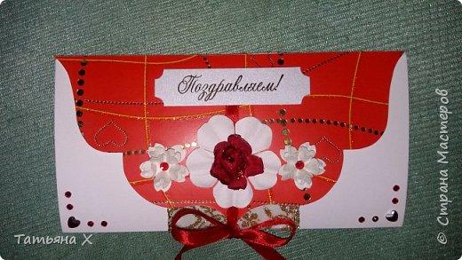 Подарок на свадьбу в красно-белых цветах. фото 2
