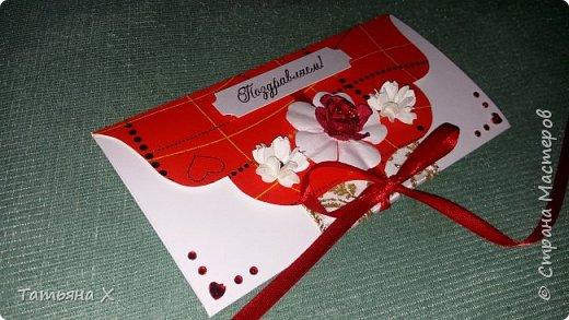 Подарок на свадьбу в красно-белых цветах. фото 1