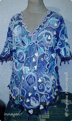 """Ирландское кружево. Жакет """"Голубая роза"""". фото 4"""