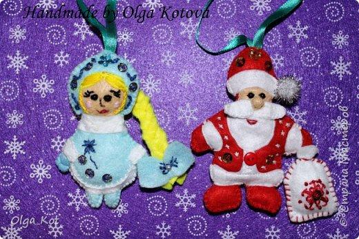 Дед Мороз и Снегурочка -елочные игрушки фото 2