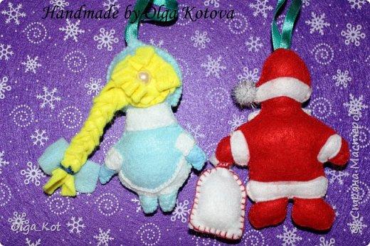 Дед Мороз и Снегурочка -елочные игрушки фото 3