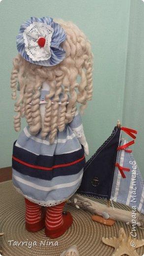 Кукла из бязи,лицо расписано акриловыми красками,волосы-шерсть.Платье из хлопка.Туфельки-кожа. фото 3