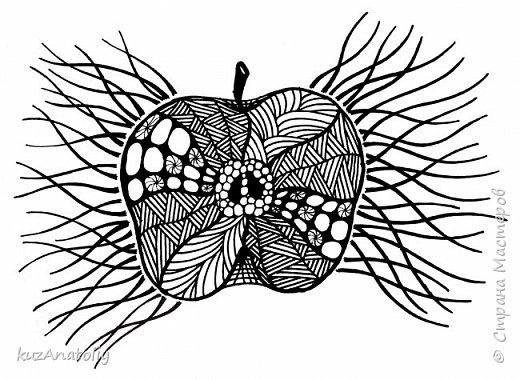 Как нарисовать разрезанное яблоко в стиле зентангл