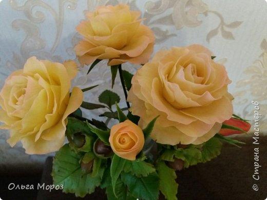 Композиция из трёх чайно-гибридных роз и лесных орешков. фото 4