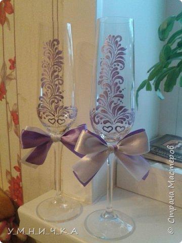 Свадебный набор (бутылки, свечи, фужеры) фото 3