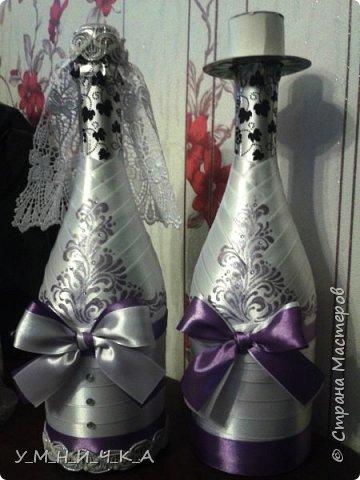 Свадебный набор (бутылки, свечи, фужеры) фото 5