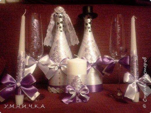 Свадебный набор (бутылки, свечи, фужеры) фото 4