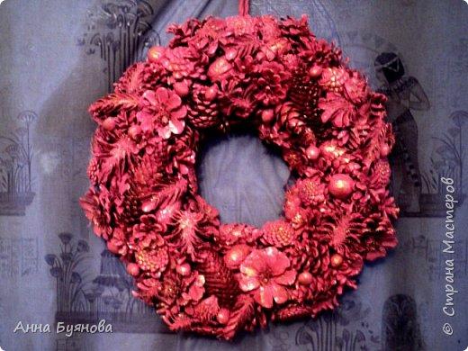 В этом году шишки у меня в фаворе... При изготовлении венка использованы шишки сосны, ели, лиственницы, каштаны,кожура каштанов, орехи грецкие и фундук.Окрас в розовый цвет ( я называю цвет увядщей розы) и  обработка золотым песком.