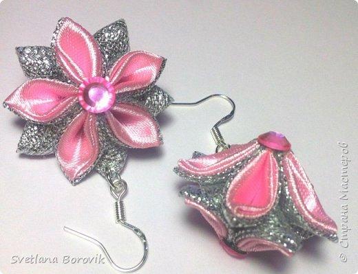Серьги канзаши Принцесса из атласных лент своими руками. Earrings kanzashi of satin ribbons