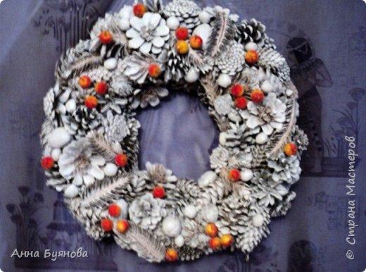 Венок и разных шишек, орешек окрашен белым спрейем, украшен декоративными ягодками.