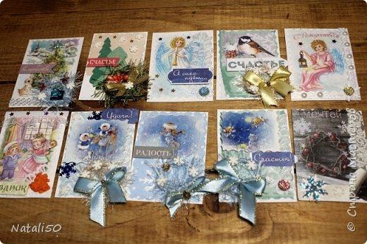 """Приглашаю на 9 этап совместника""""Рождество"""" Выбирают участники - https://stranamasterov.ru/node/1055187#comment-14363323 Использовала картон,распечатки,кружева,ленты,веночки сделала из пряжи. фото 1"""