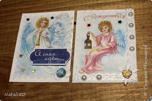 """Приглашаю на 9 этап совместника""""Рождество"""" Выбирают участники - https://stranamasterov.ru/node/1055187#comment-14363323 Использовала картон,распечатки,кружева,ленты,веночки сделала из пряжи. фото 2"""