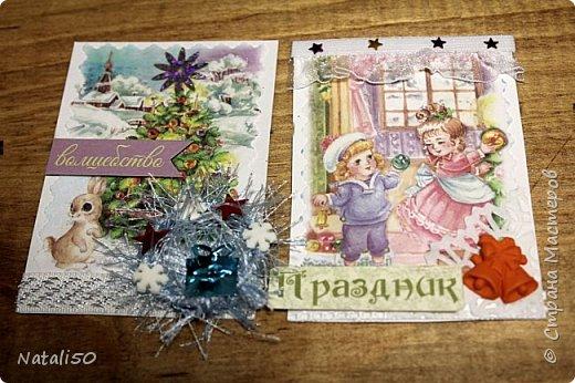 """Приглашаю на 9 этап совместника""""Рождество"""" Выбирают участники - https://stranamasterov.ru/node/1055187#comment-14363323 Использовала картон,распечатки,кружева,ленты,веночки сделала из пряжи. фото 4"""