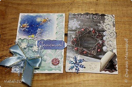 """Приглашаю на 9 этап совместника""""Рождество"""" Выбирают участники - https://stranamasterov.ru/node/1055187#comment-14363323 Использовала картон,распечатки,кружева,ленты,веночки сделала из пряжи. фото 6"""