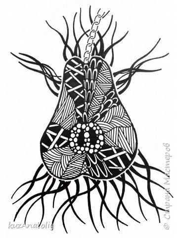 Как нарисовать разрезанную грушу в стиле зентангл